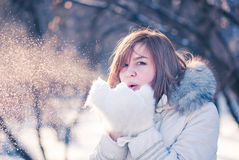 Young woman winter portrait. Shallow dof Royalty Free Stock Photo