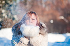 Young woman winter portrait. Shallow dof Stock Photo