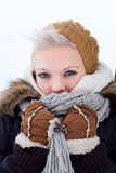 Young woman winter portrait Stock Photos