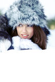 Young woman winter portrait. Stock Photo