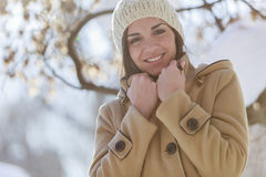 Young woman at winter Stock Photo
