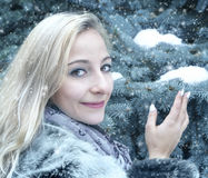 Young woman in winter Stock Photography