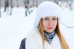 Young woman winter portrait Stock Images