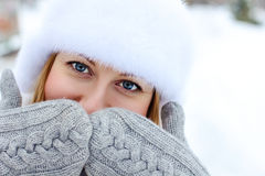 Young woman winter portrait Stock Image