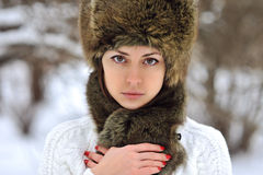 Young woman winter portrait close up Royalty Free Stock Photo