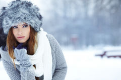 Young woman winter portrait. Stock Images