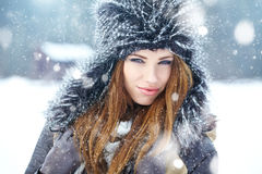 Young woman winter portrait. Royalty Free Stock Photos