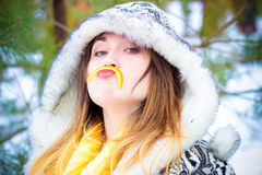 Young woman winter portrait. Shallow dof. Stock Images