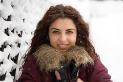 Young woman winter portrait. Shallow dof. Stock Photo