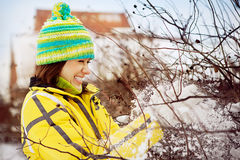The young woman in the winter in snow Stock Photos