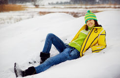 The young woman in the winter in snow. Young woman in the winter in snow Stock Image