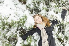 Young woman at winter time Royalty Free Stock Images
