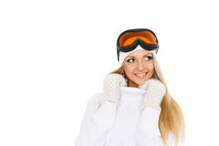 Young woman  in winter warm clothes and ski glasses. Stock Photo