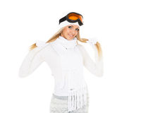 Young woman  in winter warm clothes and ski glasses. Royalty Free Stock Images