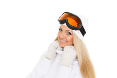 Young woman  in winter warm clothes and ski glasses. Royalty Free Stock Photos