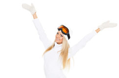 Young woman  in winter warm clothes and ski glasses. Royalty Free Stock Image
