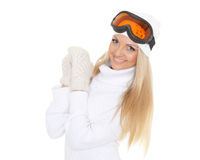Young woman  in winter warm clothes and ski glasses. Royalty Free Stock Photography