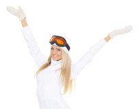 Young woman  in winter warm clothes and ski glasses. Stock Images