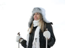 A young woman in a winters suit Royalty Free Stock Photography