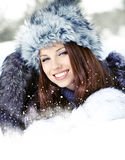 Young woman in wintertime outdoor Stock Photography