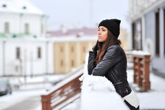 Young woman in wintertime outdoor Royalty Free Stock Images