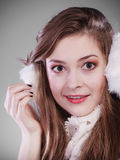 Young woman in wintertime. Royalty Free Stock Images