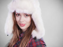 Young woman in wintertime. royalty free stock photography