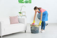 Young woman wiping dust. While cleaning flat Stock Image