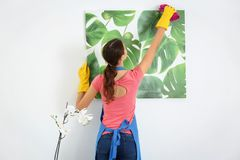 Young woman wiping dust. While cleaning flat Royalty Free Stock Photos
