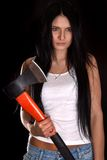 Young Woman With A Big Axe Royalty Free Stock Images