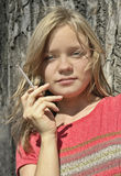 Young Woman With A Cigarette Stock Photo
