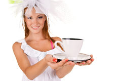 Young Woman With A Cup Of Coffe Stock Photos