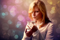 Young Woman With A Cup Of Coffee- Retouching Vintage Stock Photography