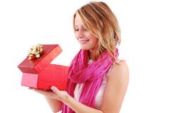 Young Woman With A Gift Royalty Free Stock Photos