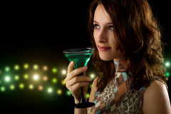 Young Woman With A Green Cocktail Royalty Free Stock Photos