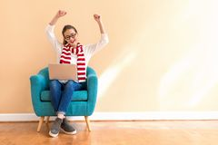 Free Young Woman With A Laptop Computer With Successful Pose Stock Images - 130879464
