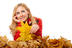 Young Woman With Autumn Leaves Royalty Free Stock Photos