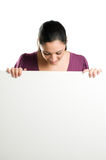 Young Woman With Blank Signboard Stock Photography