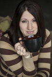 Young Woman With Brown Hair And Eyes Holding Black Cofee Cup Stock Images