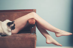 Free Young Woman With Cat Relaxing On Sofa Stock Photo - 44868400