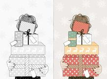 Free Young Woman With Christmas Gifts Stock Photos - 102517203
