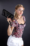 Young Woman With Clutch Bag Royalty Free Stock Photos
