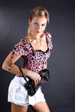 Young Woman With Clutch Bag Royalty Free Stock Photo