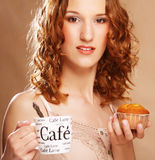 Young Woman With Coffee And Cake Stock Photo
