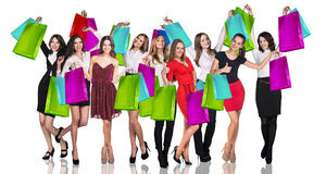 Young Woman With Colorful Packages Stock Photography