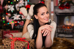 Young Woman With Gift. Christmas. Stock Images