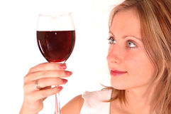 Young Woman With Glass Of Wine Royalty Free Stock Photo