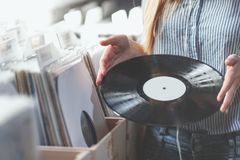 Free Young Woman With Music Records Indoors Stock Photos - 117871453