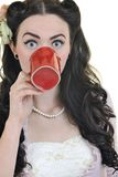 Young Woman With Red Coup Of Coffee Isolated Stock Images
