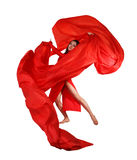Young Woman With Red Fabric Over White Stock Photo